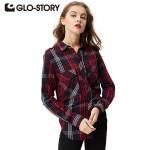 GLO-STORY Women Plaid Blouse 2018 Fashion Casual Women Clothing Long Sleeve Office Check Shirts Blouses Women Tops blusas 3007
