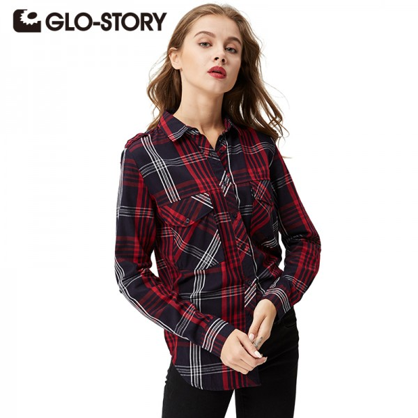 GLO-STORY Women Plaid Blouse 2018 Fashion Casual Women Clothing Long Sleeve Office Check Shirts Blouses Women Tops blusas 3007