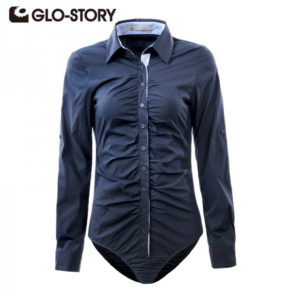 GLO-STORY Women's Shirt 2017 Formal Blouse Long Sleeves Solid Turn-down Office Siamese Shirts Femme Blusas WCS-1249