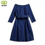 GOPLUS 2018 Denim Dress Spring Autumn Women Casual Round Collar Dress Empire Jeans Knee-length Dress Vestidos Plus Size XXL