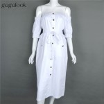 Gagalook 2016 Brand Summer Dress Women White Robe Sexy Off Shoulder Button Tunic Elegant Long Party Dress Vestidos D0889