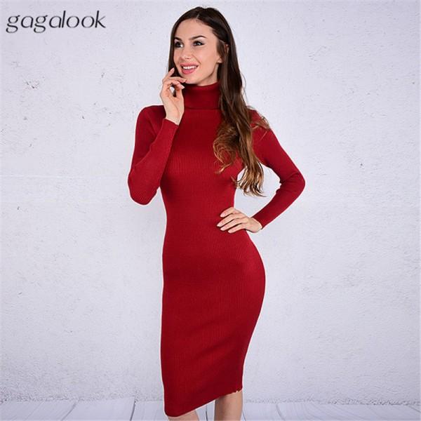 Gagalook 2016 Brand Winter Knitted Dress Women Black Red Turtleneck Midi Bodycon Christmas Sweater Dress Robe Pull Femme Hiver