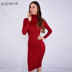 Gagalook 2016 Brand Winter Knitted Dress Women Black Red Turtleneck Midi Bodycon Christmas Sweater Dress Robe Pull Femme Hiver