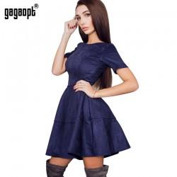 Gagaopt 2017 Spring & Summer Dress Velvet Office Dress 3 Solid Colors Causal Boho Dress Sexy Party Dresses Vestidos Robes