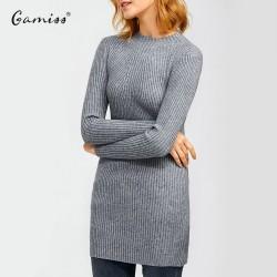 Gamiss Autumn Winter Women Knitted Dresses Casual Turtleneck Long Sleeve Thicken Warm Woman Long Sweater Dress Female Vestidos