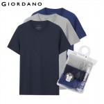 Giordano Men T-shirt Short Sleeves Undershirts Male Solid Cotton Mens Tee Summer Jersey Brand Clothing Sous Vetement Homme