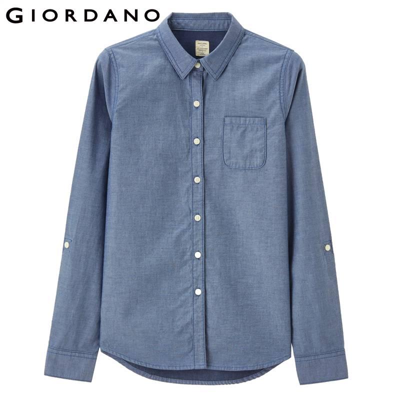 d8bd311c30f Giordano Women Shirt Spring 2017 Cotton Blouses Camisa Jeans Feminina Denim  Shirt Roupa Feminina Long Sleeves Blouse
