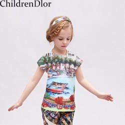 Girl T-shirt Kids Clothes 2017 Summer Brand Kids T-shirt Girls Clothes Luxury Mondello Print Girls Tee Shirt Enfant 2-12Y
