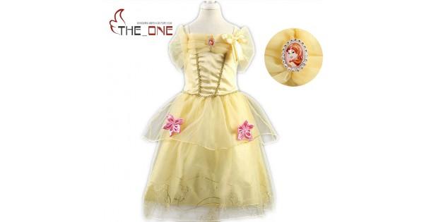 Girls Princess Summer Dresses Kids Belle Cosplay Costume Clothing