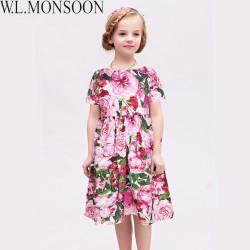 Girls Rose Bianco Dresses 2017 Brand Summer Princess Dress Robe Fille Enfant Girls Costume Children Dress Kids Clothes 3-12Y
