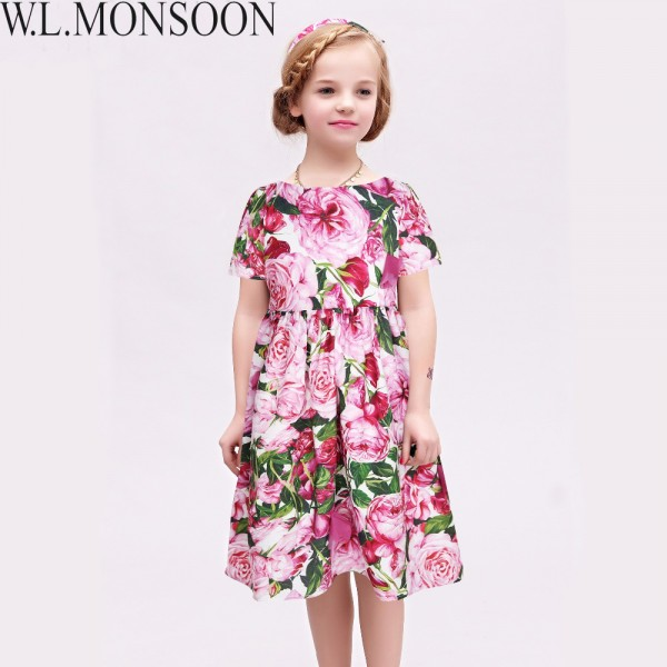 Girls Rose Bianco Dresses 2017 Brand Summer Princess Dress Robe Fille Enfant Girls Costume Children Dress Kids Clothes 3-12Y