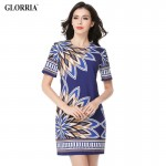 Glorria Women 2017 Summer Print Dress Navy Blue Short Dresses Lady Elegant Casual Fashion Party Office Dress Sundress Vestidos