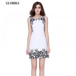 Glorria Women Print Tunic White Dress 2017 Summer Sundress Ladies Elegant Office Wear Work Party Mini Dresses Clothing Vestidos