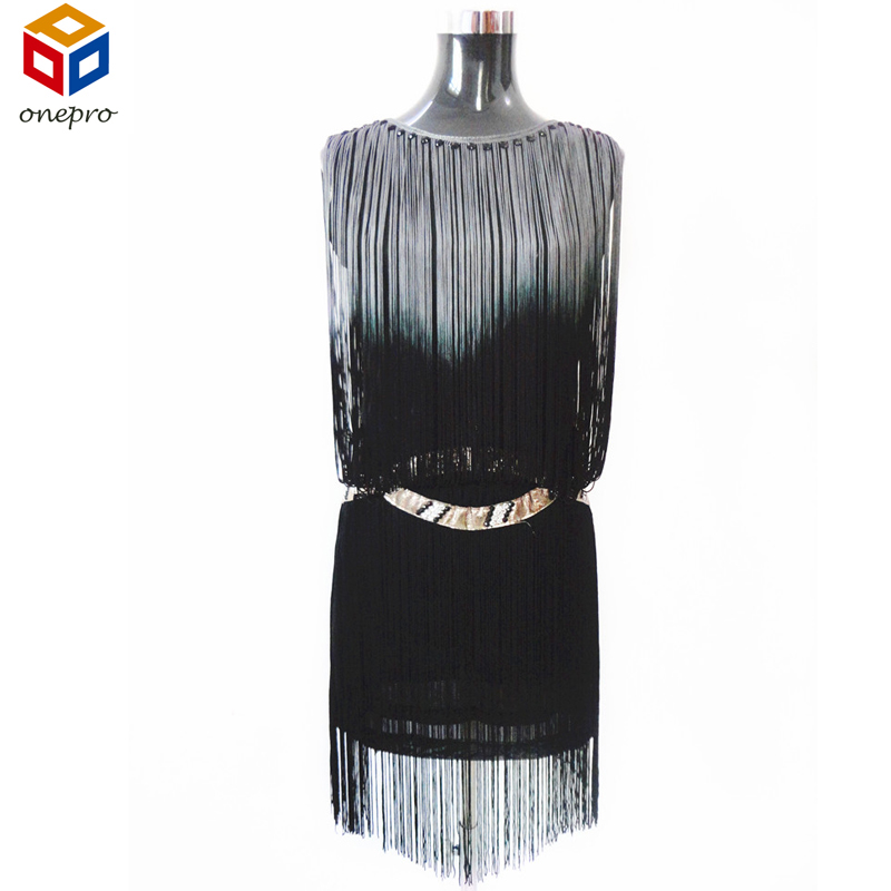 Great Gatsby 1920s Flapper Dress Summer Sleeveless Sheath Casual Party Vintage  Dress With Beading and Fringe 35aa27522bee