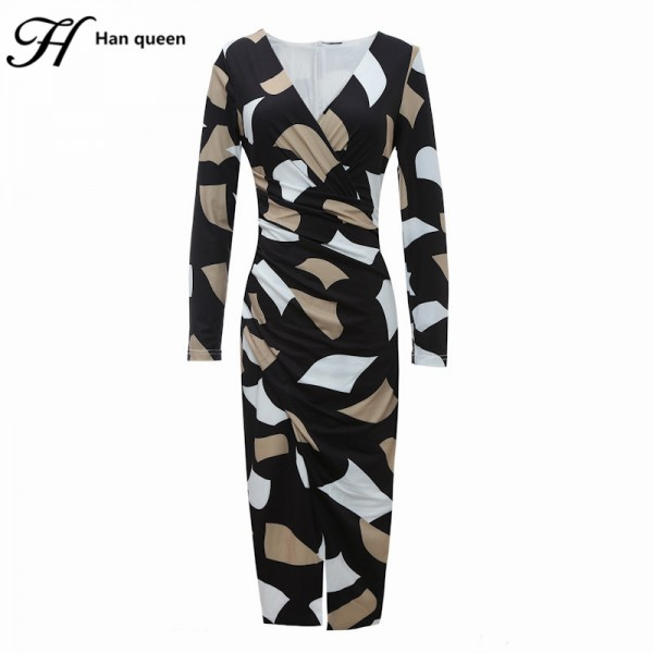 H Han Queen Korean Autumn Retro Print Sexy Dress Women Business V-neck Office Work Tunic Bodycon Sheath Casual Pencil Dresses