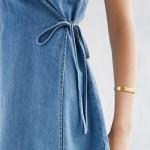 HDY Haoduoyi 2017 Women Summer A-Line Mini Spaghetti Strap Sleeveless Tie Waist Sexy Deep V-Neck Denim Wrap Vestidos De Festa La