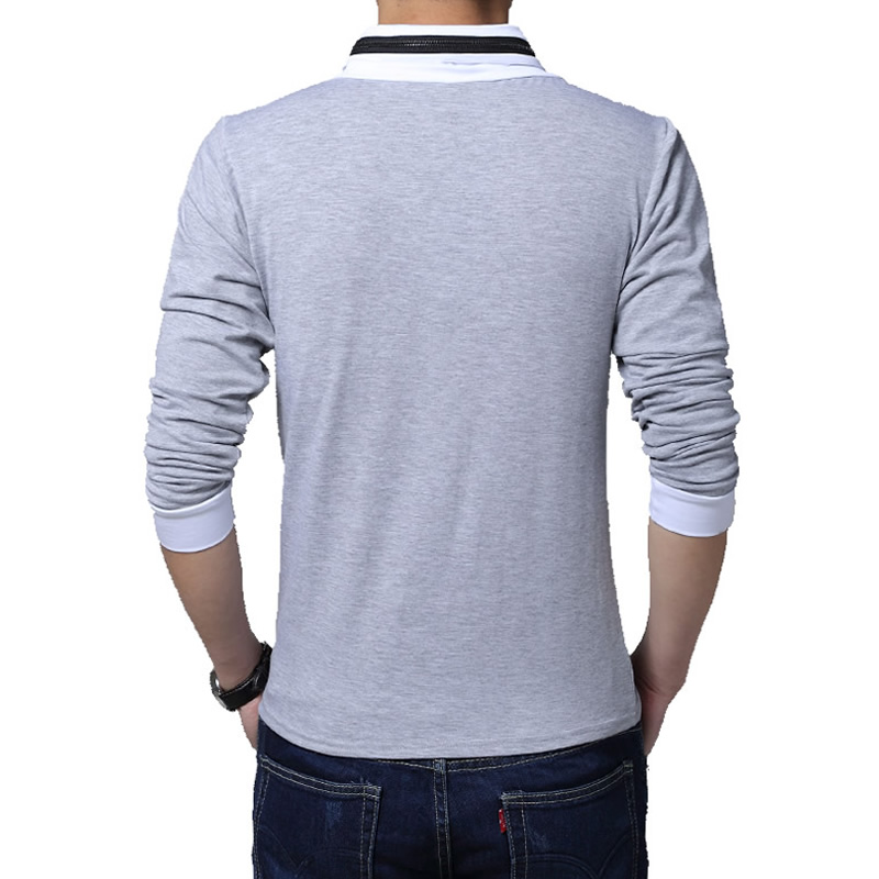 Hot sale 2017 new fashion brand irregular collar slim fit for Mens long sleeve t shirts sale