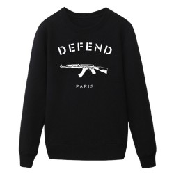 HOT Sale Letters DEFEND PARIS AK47 Automatic rifles print  Men's Slim Fit  Hip pop Popular Jersey SWEATSHIERT hoodies