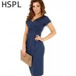 HSPL 2017 Women Summer Casual Sleeveless sheath  Dress V Neck Sexy Slim Casual Pencil Dress Knee Length