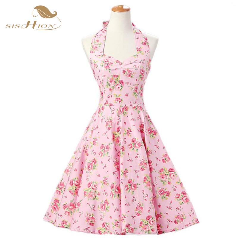 91ce93002 Halter Women 50s Rockabilly Dresses Floral Print Retro Vintage 60s Party  Dress Pinup Swing Audrey Hepburn Summer Dress Plus Size