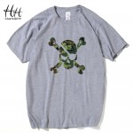 HanHent  Camouflage Skull T shirt Men Pirates Short Sleeve Men T-shirts Casual Cotton Fitness Clothing USA Russia Amry Military