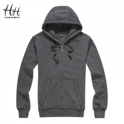 HanHent Autumn Spring Fashion Solid Color Hoodies Bodybuilding Man's Cardigan Streetwear Hip Hop Clothing Fitness Sweatshirts