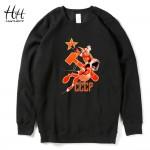 HanHent CCCP Sweatshirts Fleece Man's Thick Round Collar Pullover Clothing Russia Streetwear Hip Hop Hoodies Fashion AD0672