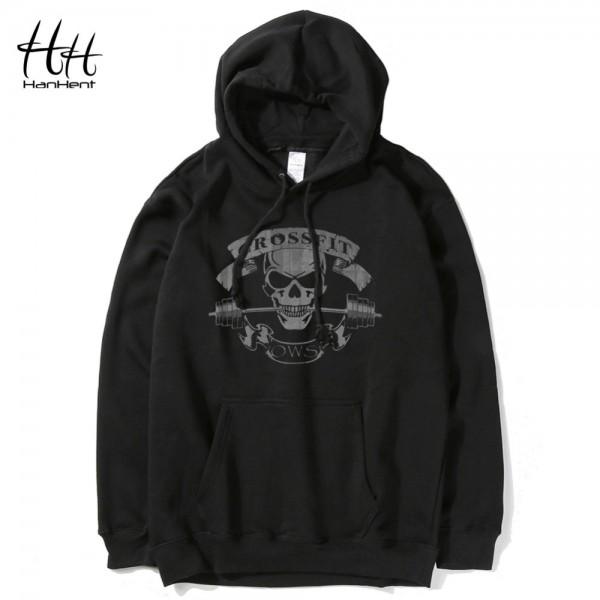 HanHent Crossfit Skull Hoodies Men Streetwear Printed Man Hooded Black Sweatshirts 2016 Fashion Camouflage Pullover Clothes