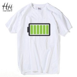 HanHent Full Battery Android Creative Men T-shirts Energy Cotton Tee shirt Homme Classic Blouse Fitness Clothes Men's T shirts