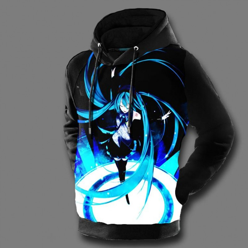 Hatsune Miku Hoodies 3D Print Vocaloid Mens Hooded