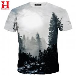 Headbook New Arrivals Men/Women 3d T-shirt Print Winter Forest Trees Quick Dry Summer Tops Tees Brand Tshirts