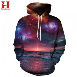 Headbook Space Galaxy Sweatshirt With Cap Men/women Hooded Hoodies 3d Print Seaside Sun Rising Autumn Thin Hoody