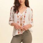 Heyouthoney Women vintage ethnic embroidery geometric blouses boho 3/4 sleeve tassel strappy shirt femme summer v neck hippie
