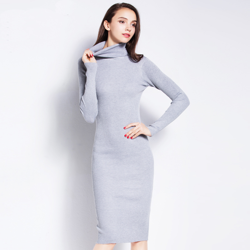 6f34f15214f42 High Neck Sweater Dress Fall Casual Sexy Bodycon Pullovers Women Winter  Basic Brief Knitted Long Turtleneck Sweater Dress