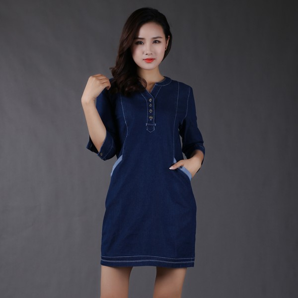 High Quality 2016 Summer Women's Denim Dress Half Sleeve V-Neck Casual Loose Women Mini Dresses Sundress Jeans Vestidos DZ2A