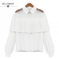High Quality Blouses 2018 Summer Women Off Shoulder Cape-style Loose Pleated White Black Tops Chiffon Blouse Shirts Sexy Blusas