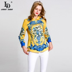 High Quality Printed Shirt Plus size Women's Turn down Collar Long Sleeve Summer Casual Blouse Fashion Tops