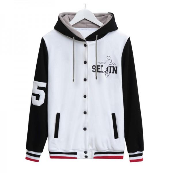 High Quality Winter Fleece Hoody Kuroko No Basket Anime Sweatshirts Cool Baseball Jacket For Teenagers