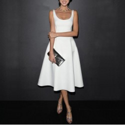 High quality 2017 Women Summer plus size Vintage A-Line Dress Office Lady One-piece Dress Female Vestido Ball Gown