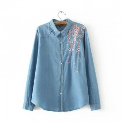 High quality Peach Embroidery Plus size women long sleeve Denim fabric shirt Spring casual elegant blouse Female office work top