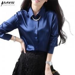 High quality elegant intellectuality women long sleeve blouse silks satins tops female all-match loose plus size shirt  S-XXXL