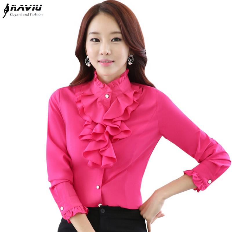 High Quality Long Sleeve Chiffon Blouse Elegant Women Ruffles Shirt