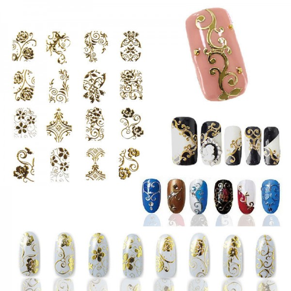 Hot Gold 3d Nail Art Stickers Decals108pcssheet Top Quality