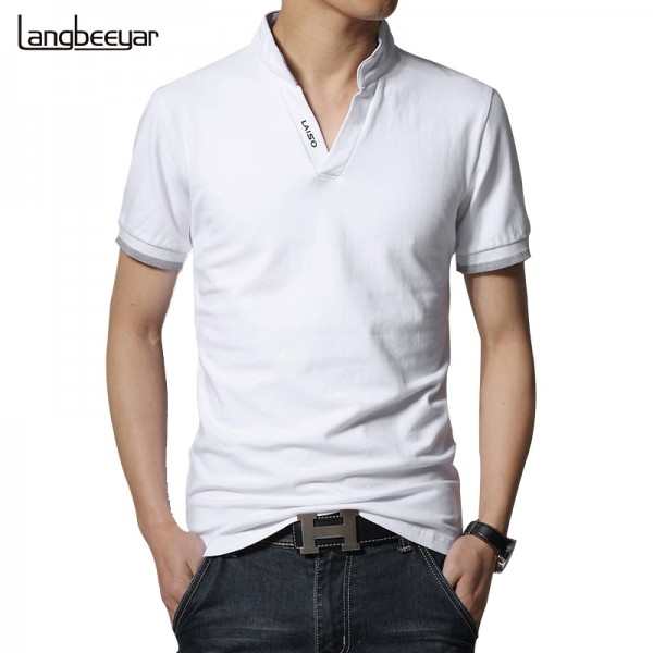 Hot Sale 2017 New Summer Fashion Mens T Shirts  V-Neck Slim Fit Short Sleeve T Shirt Mens Clothing Trend Casual Tee Shirt M-5XL