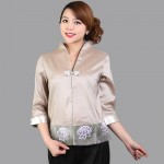 Hot Sale Gray Traditional Chinese style Blouse Ladies' Satin V-Neck Shirt Tops Mujer Camisa Flower Size S M L XL XXL Mns01B
