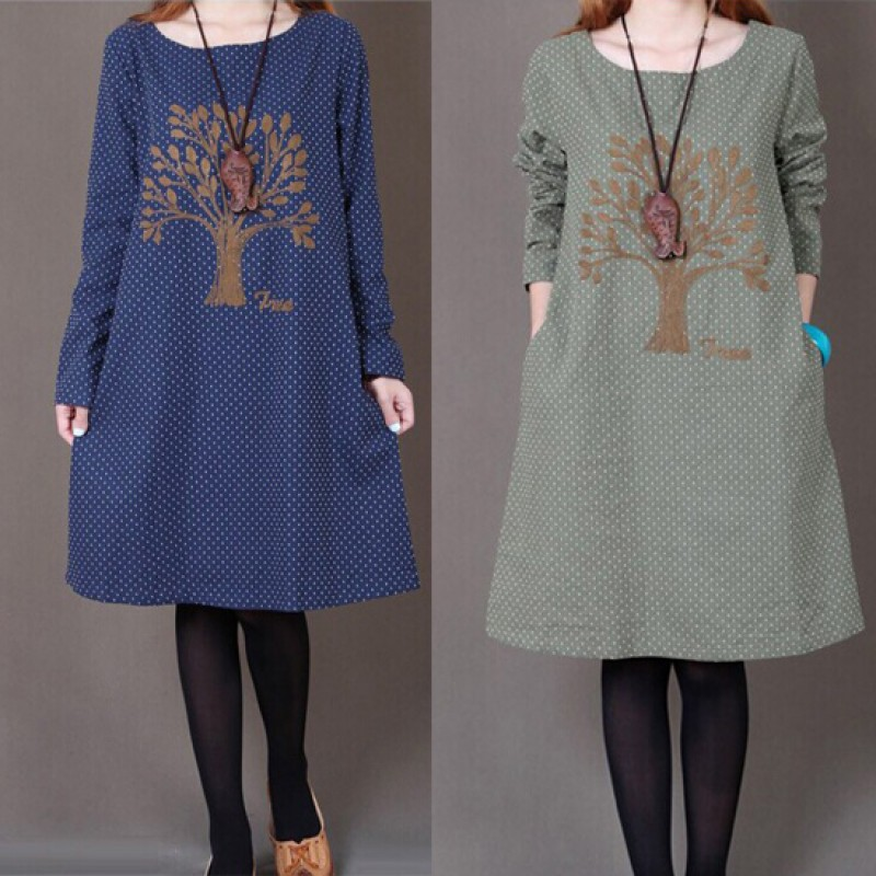 Hot Sale Winter women dress clothes Korean loose plus size dress  long-sleeved o-neck embroidered large size winter dress vestido