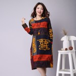 Hot sale 2016 Spring Linen Chinese Style women dress Loose long-sleeved O-neck Print Plus size M-XXL Casual dresses