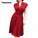 Hot sale summer new Vintage Retro Dress Hepburn style V-neck Vestidos dress Short sleeve big tutu dress