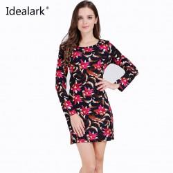 Idealark Plus Size Women Clothing Spring Fashion Flower Print Dress Ladies Long Sleeve Casual Autumn Dresses Vestidos WC0592
