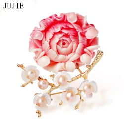 JUJIE Fashion Flower Brooches For Women 2018 Shell Plum Brooch Pins Corsage Dress Accessories Luxury Female Jewelry Dropshipping